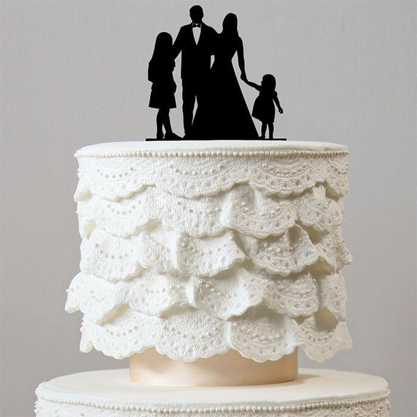 Wedding Cake Toppers (Bride Groom &2 Daughters) [Sweet Family /Girls]