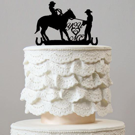 Wedding Cake Toppers (Country Western Rustic Vintage/Cowboy &Horse)