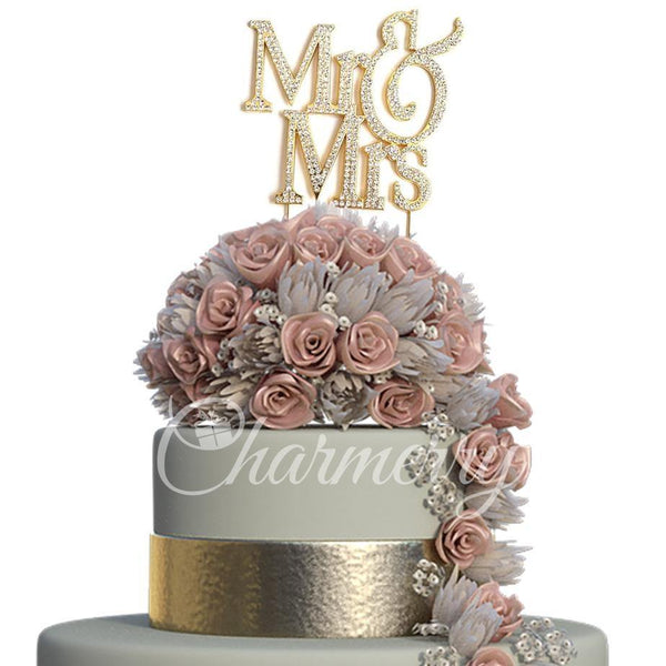 Crystal Rhinestone Wedding Cake Toppers (Luxury FAUX Diamond, Sparkly Shiny & Glitter) Gold Charmerry a01