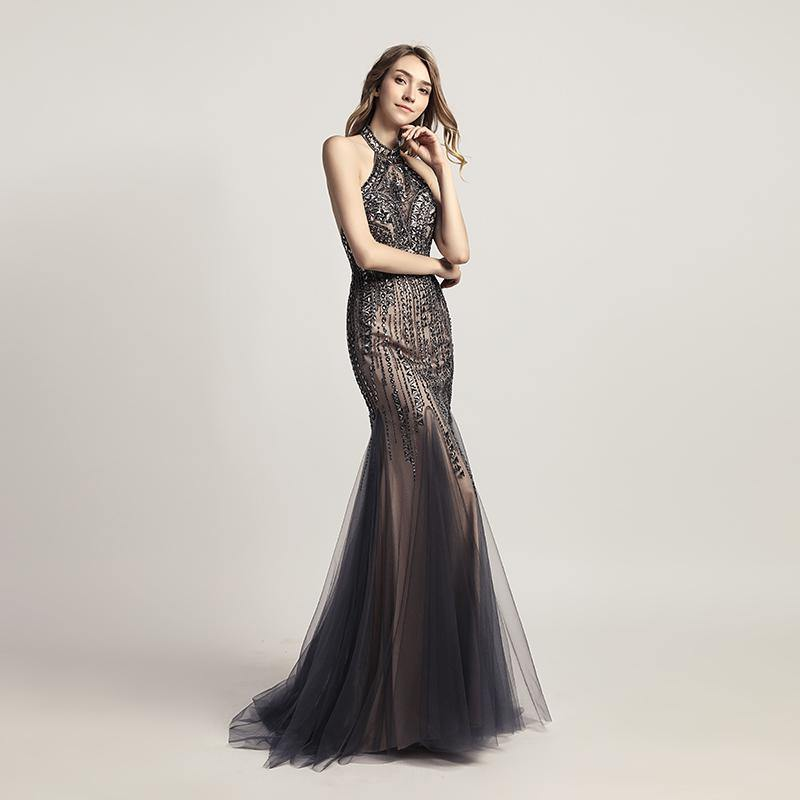 Crystal Wedding Dresses & Gowns - Luxury Open Back Mermaid Evening ...