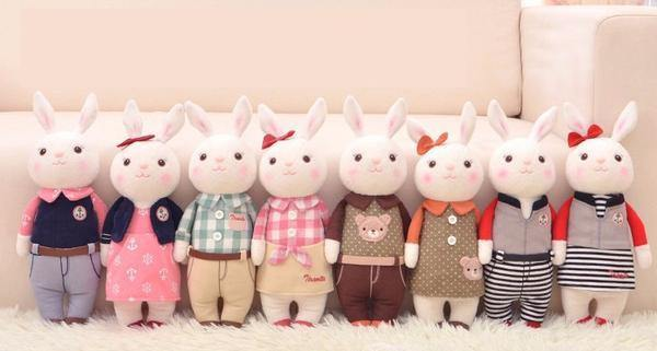 "Stuffed Toy /Plush Gift for Wedding Valentine Anniversary Engagement [14"" /Rabbit Matching Outfits]"