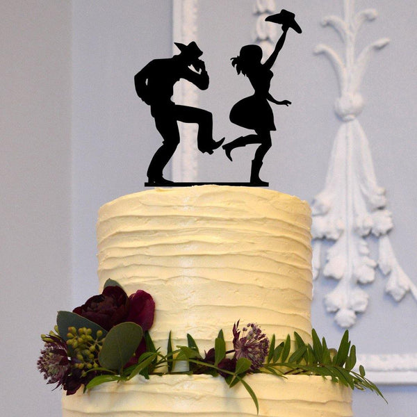 wedding cake topper country western style theme cowboy boogie rock roll happy freestyle dance cowgirl decor decoration decorating rustic outdoor vintage charmerry