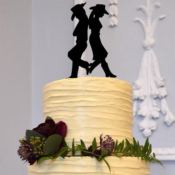 wedding cake toppers country western style theme cowboy cowgirl decor decoration decorating rustic outdoor vintage charmerry