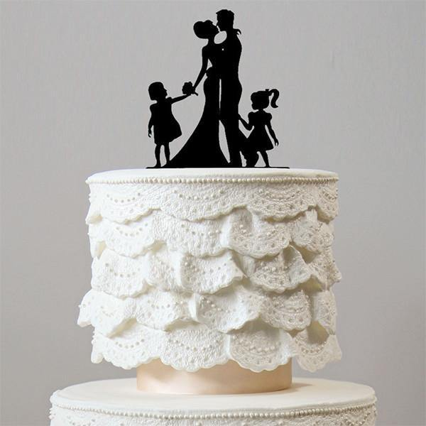 wedding cake toppers family son daughter boy girl baby kids children simple elegant chic style classy themes decor favors decoration charmerry a003