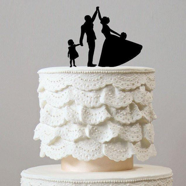 wedding cake toppers family son daughter boy girl baby kids children simple elegant chic style classy themes decor favors decoration charmerry a006