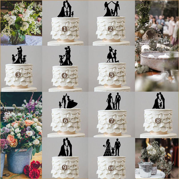 wedding cake toppers family son daughter boy girl baby kids children simple elegant chic style classy themes decor favors decoration charmerry a0000