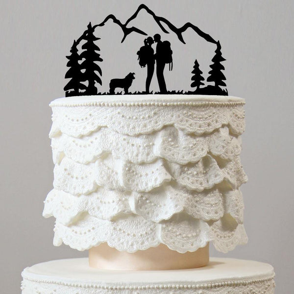 wedding cake toppers keepsakes dog mountain style natural outdoor themes decor favors decoration chic classy simple elegant hiking hike backpacking rustic vintage country charmerry