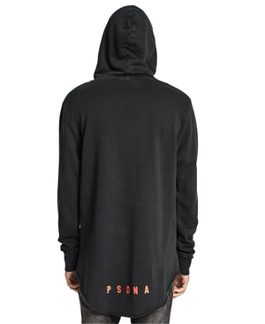 Nena And Pasadena - Animal Raw Hem Hooded Sweatshirt - Pigment Black