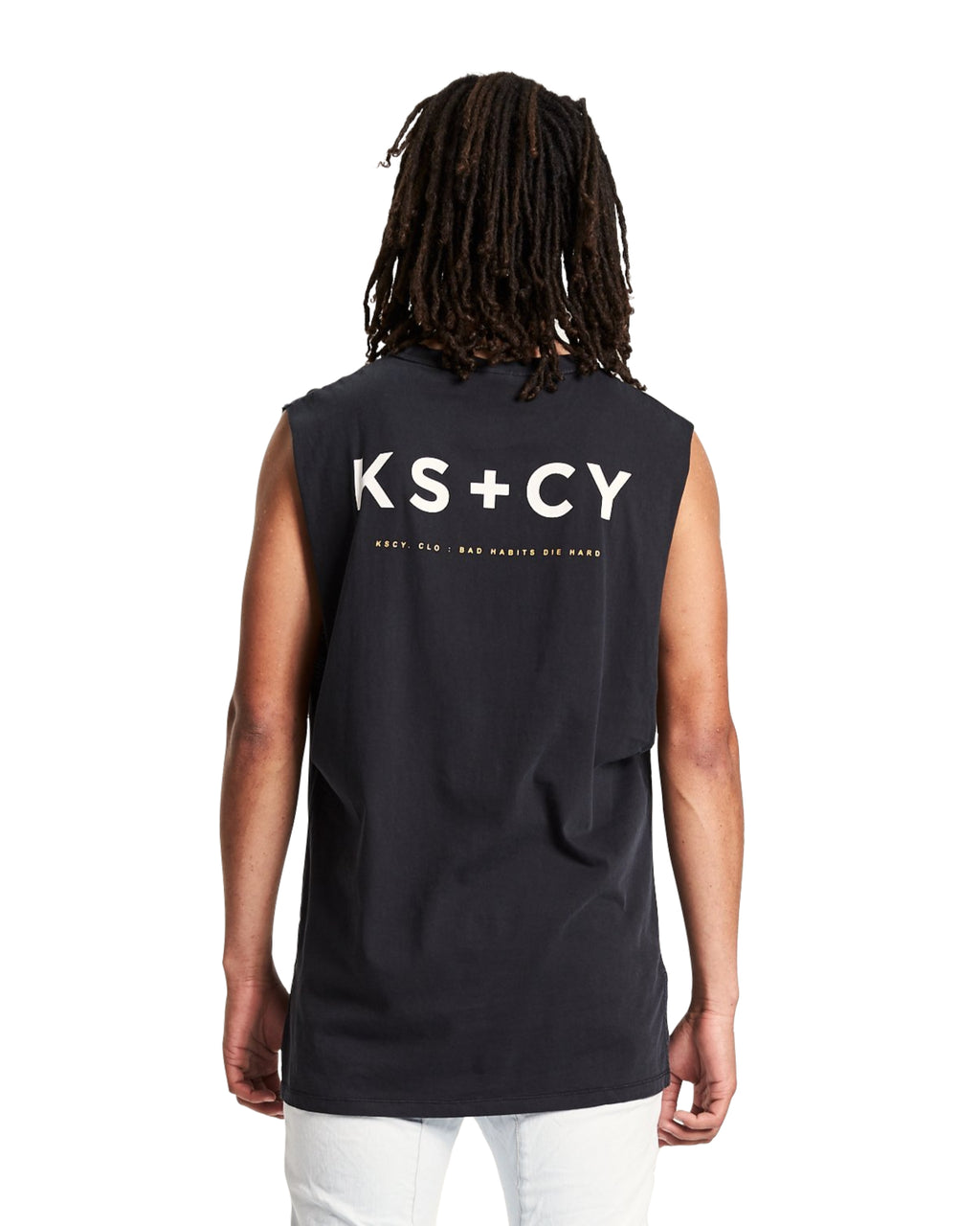 Kiss Chacey - Back Step Hem Muscle Tee - Pigment Black