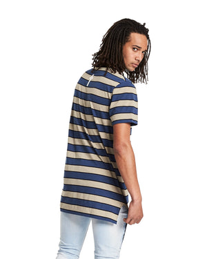 Kiss Chacey - Carry Step Hem Tall Tee - Charcoal/Khaki Stripe