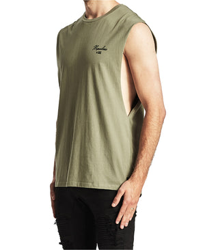 Nena And Pasadena - Domination Scoop Back Muscle Tee - Khaki