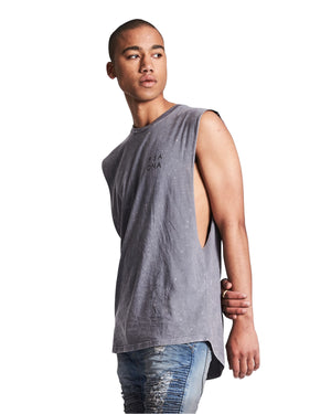 Nena And Pasadena - Fade To Black Step Hem Muscle Tee - Acid Storm Front
