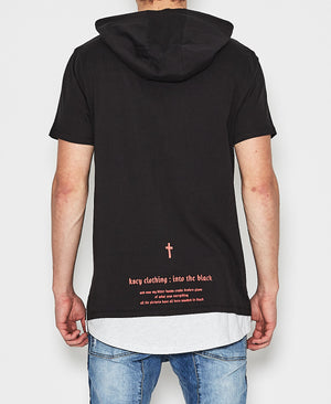 Kiss Chacey - Burn Hooded Layered Hem T-Shirt - Black