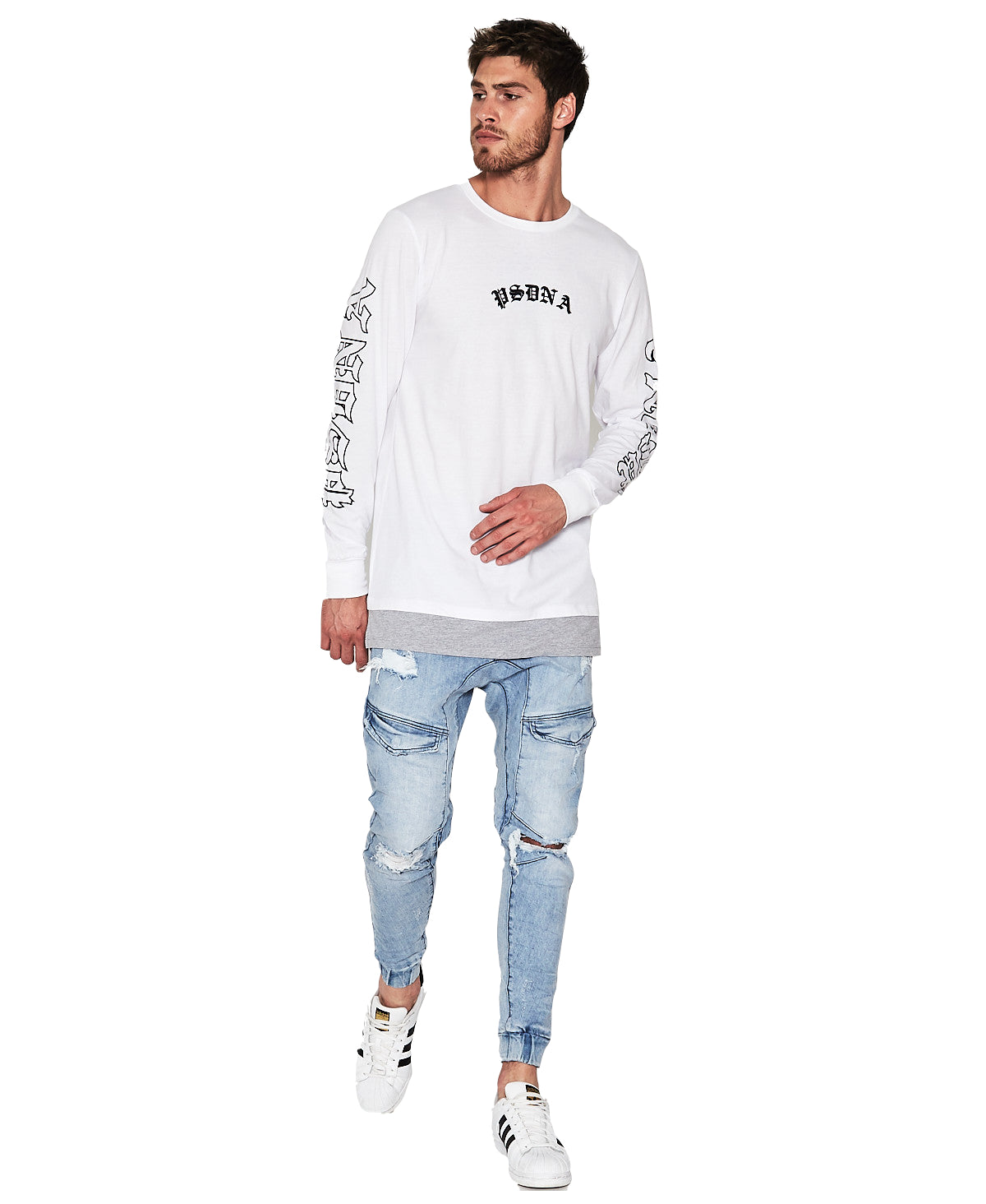 Gothic Long Sleeve Layered Hem T-Shirt - White