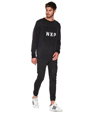 Nena And Pasadena - Reverse Long Sleeve T-Shirt - Acid Black