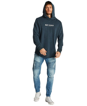 Nena And Pasadena - Reckless Hooded Dual Curved Sweatshirt- Acid Navy