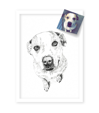 Custom A3 Pet Portrait with FREE desk calendar, frame & shipping!