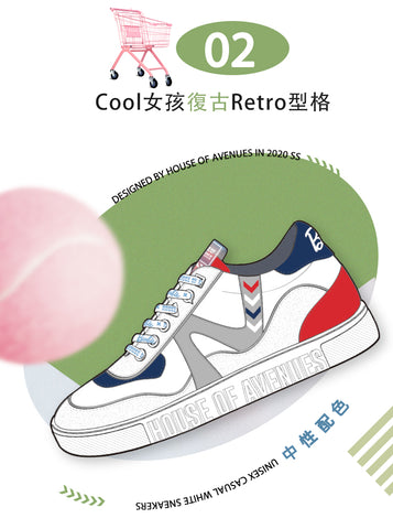 hoa x barbie women's sneakers in red white blue colorways illustrations