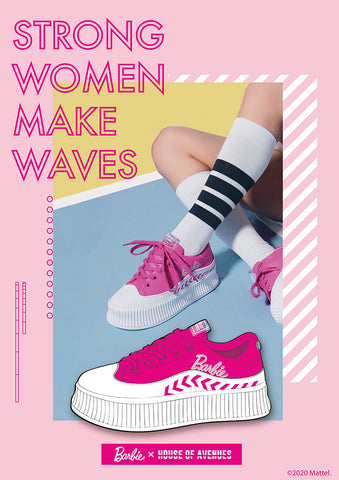 hoa x barbie pink platform sneakers tennis style fitting on model
