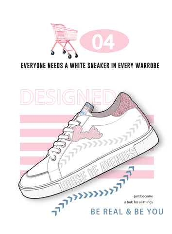 hoa x barbie white sneaker with glitter pink ankle