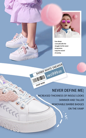 hoa x barbie white sneaker tennis style model shot