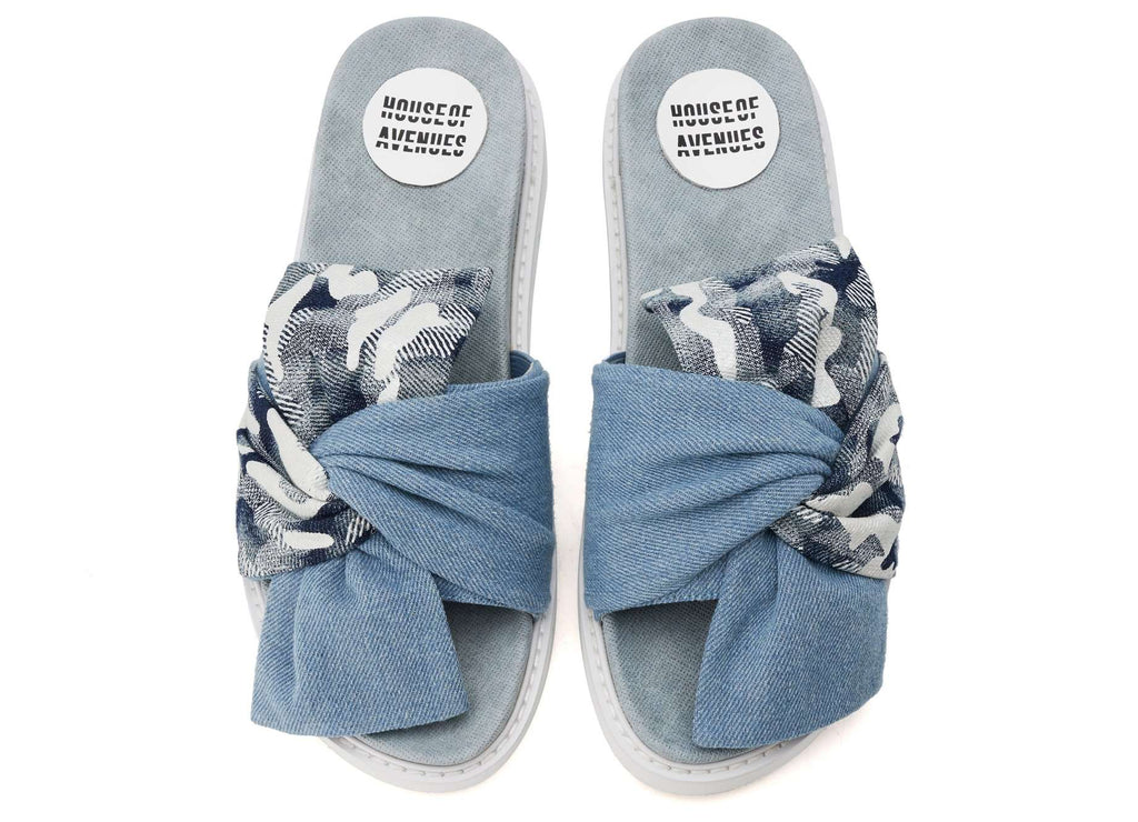 LIGHT BLUE CHUNKY BOW PLATFORM SLIPPER 5310 - House of Avenues - Designer Shoes | 香港 | 女鞋 House of Avenues
