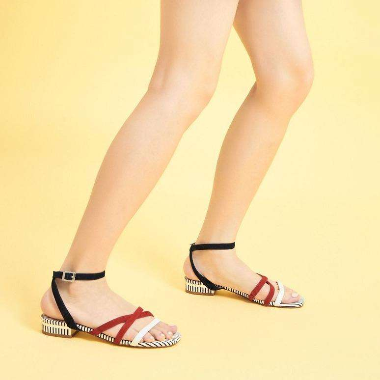 Ladies Strappy Flat Sandal 5320 Grey & Red - House of Avenues - Designer Shoes | 香港 | 女鞋 House of Avenues