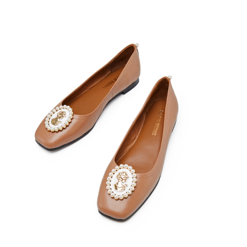 Ladies Small Square Toe Flat Pumps 5557 Brown - House of Avenues - Designer Shoes | 香港 | 女鞋 House of Avenues