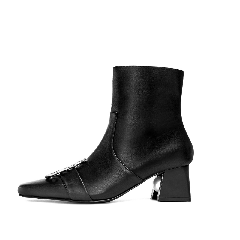 Ladies Square Toe with Metal Brooch Bootie 5553 Black - House of Avenues - Designer Shoes Online 香港女鞋網店