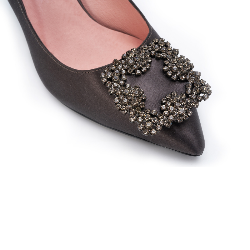 DB Ladies Ornament Heel Pumps DB010068 Dark Grey - House of Avenues - Designer Shoes | 香港 | 女鞋 House of Avenues