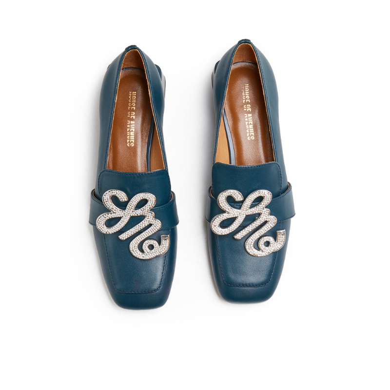 Ladies Square Toe Retro Loafer 5552 Navy - House of Avenues - Designer Shoes | 香港 | 女鞋 House of Avenues