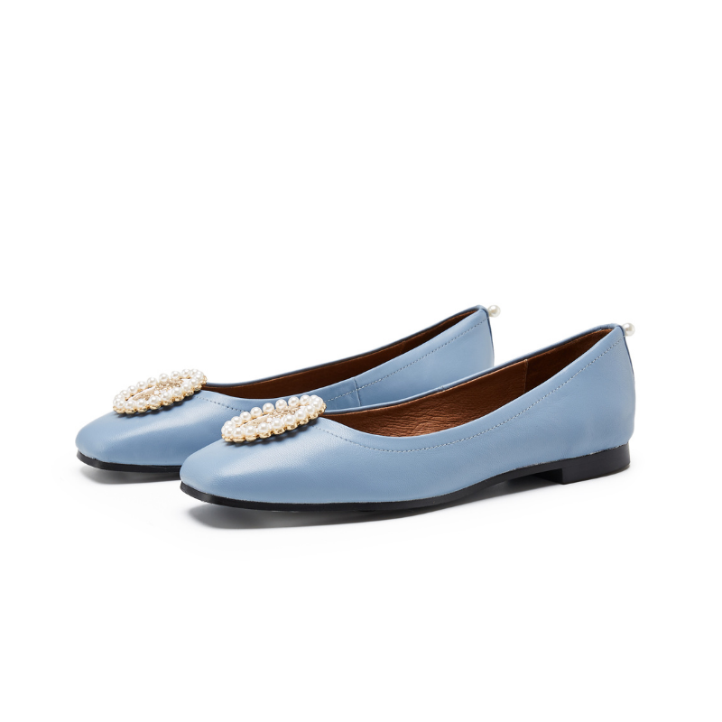 Ladies Small Square Toe Flat Pumps 5557 Blue - House of Avenues - Designer Shoes | 香港 | 女鞋 House of Avenues