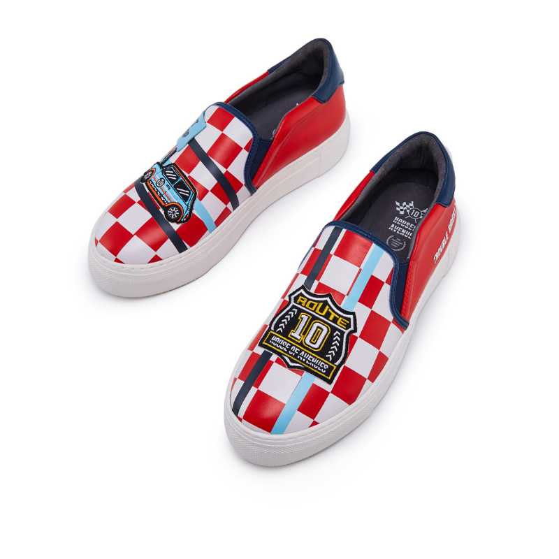 Rider Pattern Casual Canvas Slipon 5544 Red - House of Avenues - Designer Shoes | 香港 | 女鞋 House of Avenues