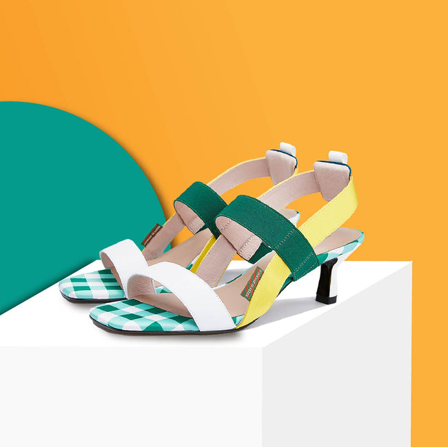 Sea You Soon Color Block Heel Sandals 5537 - House of Avenues - Designer Shoes Online