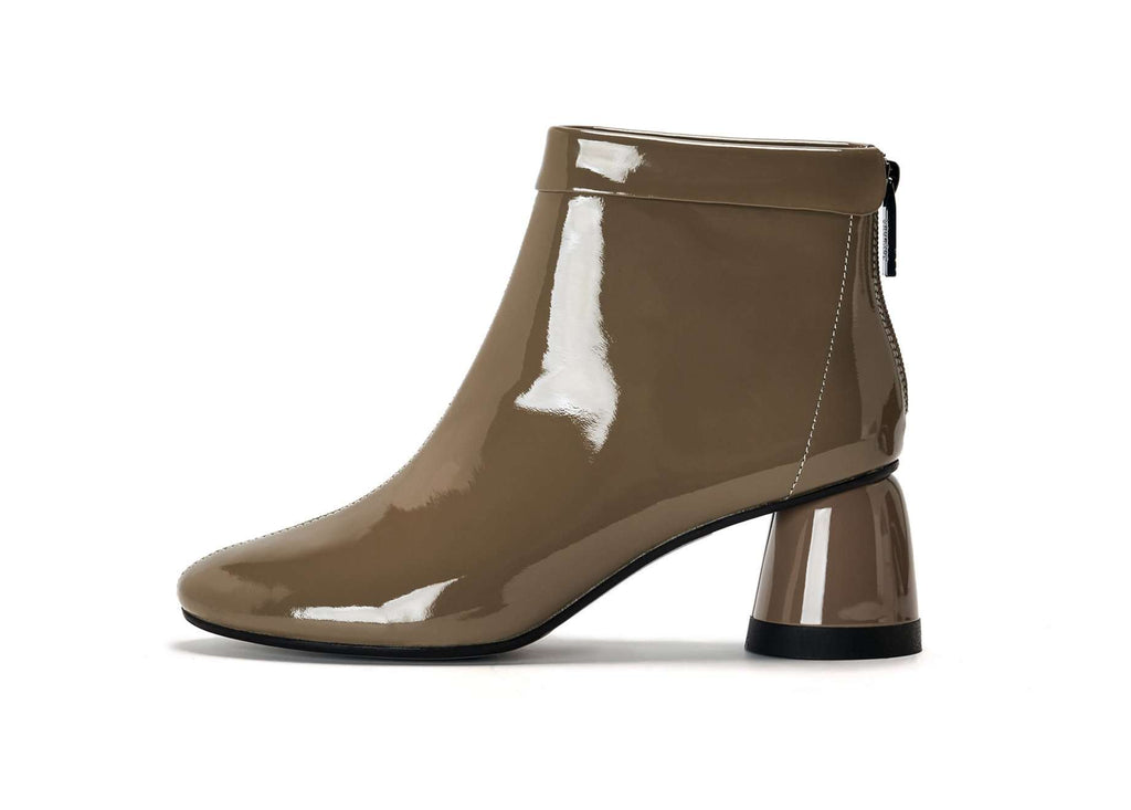 PATENT ROUND BOOTIE 5477 (Brown) - House of Avenues - Designer Shoes Online