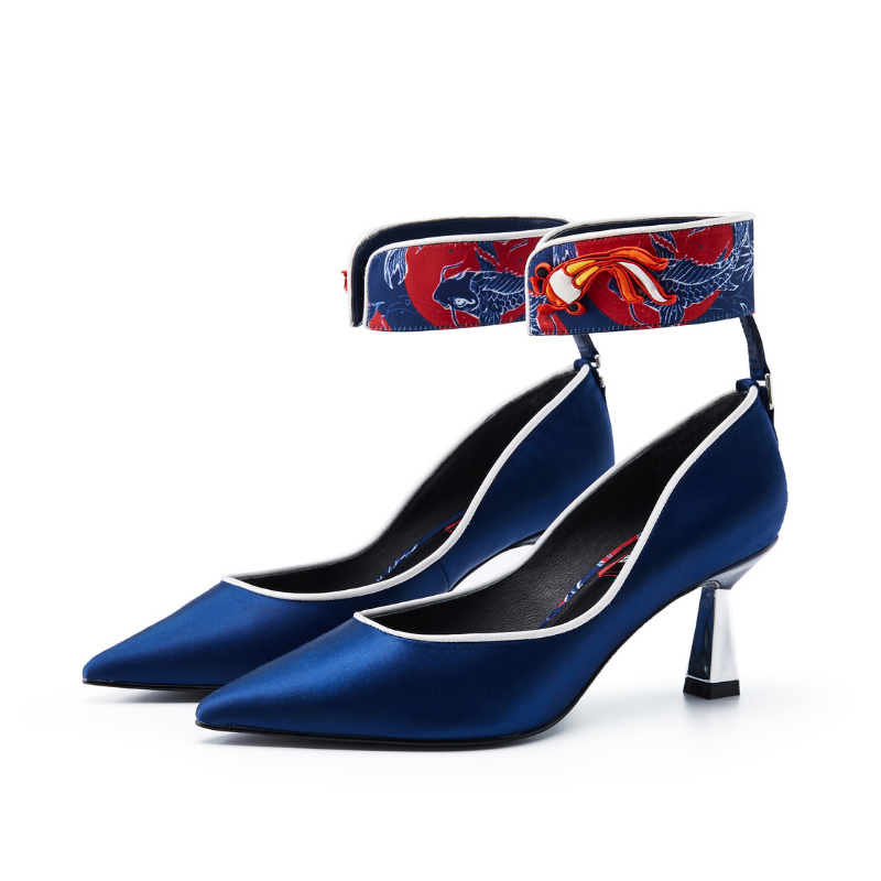 Ladies Hand Crochet Button Ankle Strap Heel Pumps 5605 Navy - House of Avenues - Designer Shoes | 香港 | 女鞋 House of Avenues