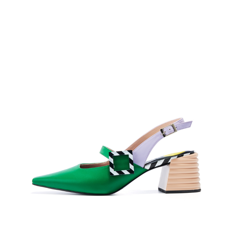 Ladies Patent Memphis Slingback Pumps 5602 Green - House of Avenues - Designer Shoes | 香港 | 女鞋 House of Avenues