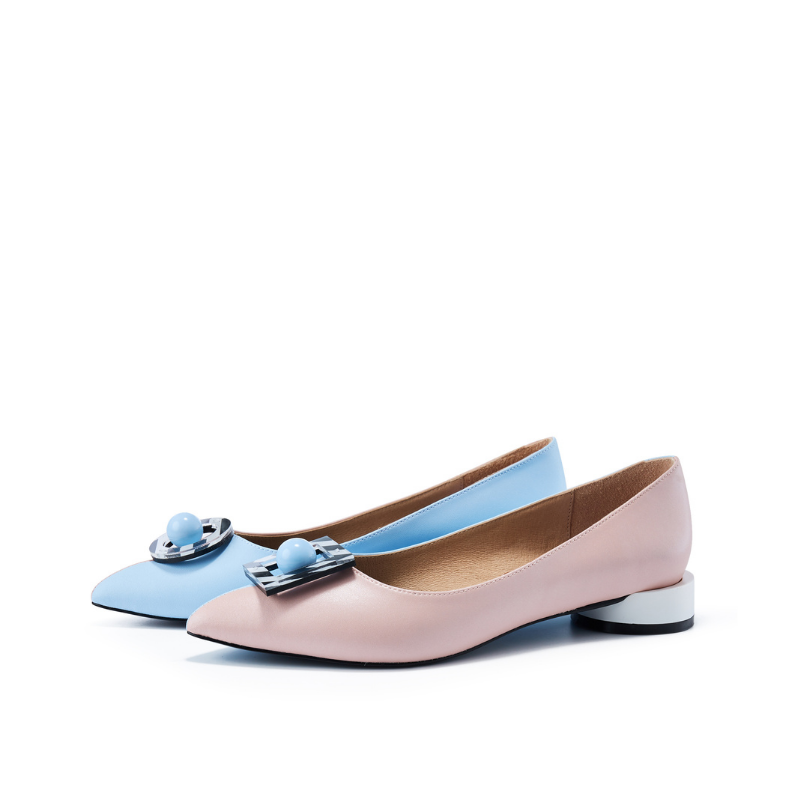 Ladies' Memphis Pattern Flat Pumps 5603 Pink - House of Avenues - Designer Shoes | 香港 | 女鞋 House of Avenues