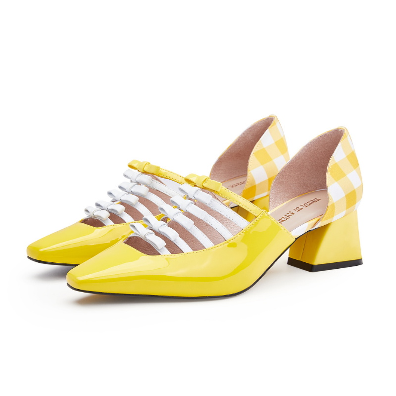 Ladies Retro Style Heel Loafer 5502 Yellow - House of Avenues - Designer Shoes Online 香港女鞋網店
