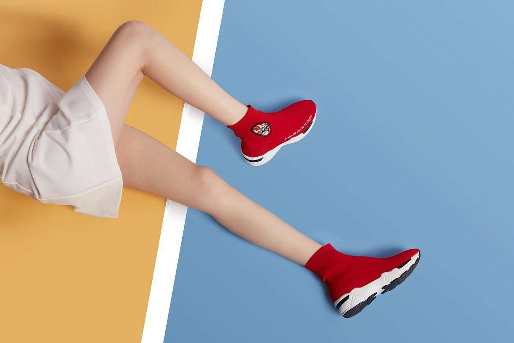 Ladies Socking High Top Sneaker 4486 Red - House of Avenues - Designer Shoes | 香港 | 女鞋 House of Avenues