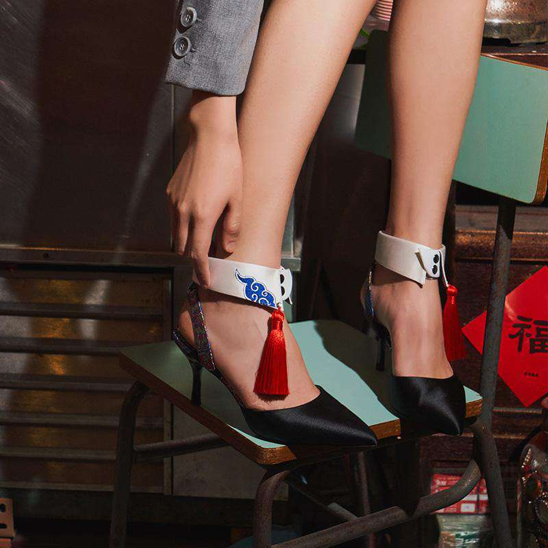 Ladies Detachable Collar Heel Pumps 5245 Black - House of Avenues - Designer Shoes | 香港 | 女鞋 House of Avenues