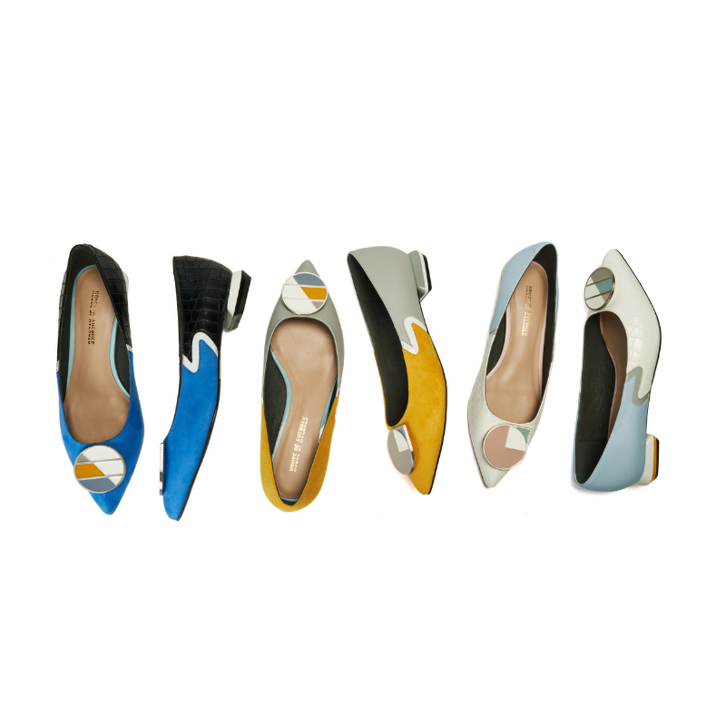 Keep Art Alive Ladies Color Blocking Flat Pumps 5523 White - House of Avenues - Designer Shoes Online