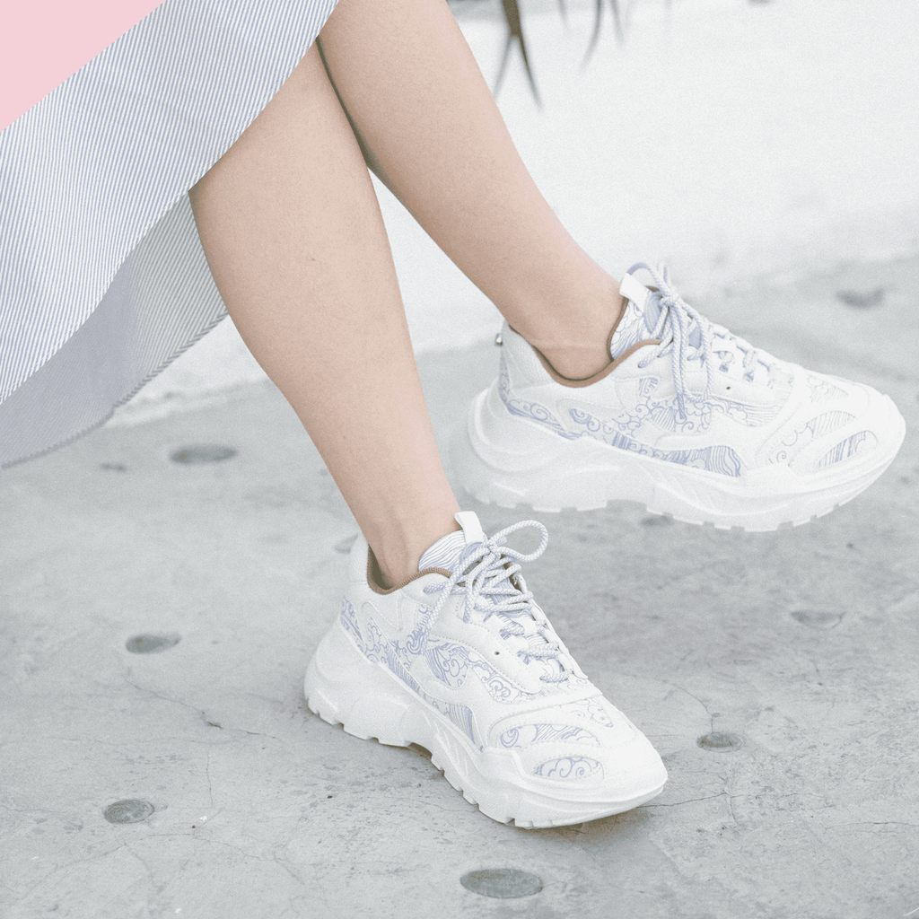 Ladies' Cloud Print Chunky Sneaker 5287 White - House of Avenues - Designer Shoes | 香港 | 女鞋 House of Avenues