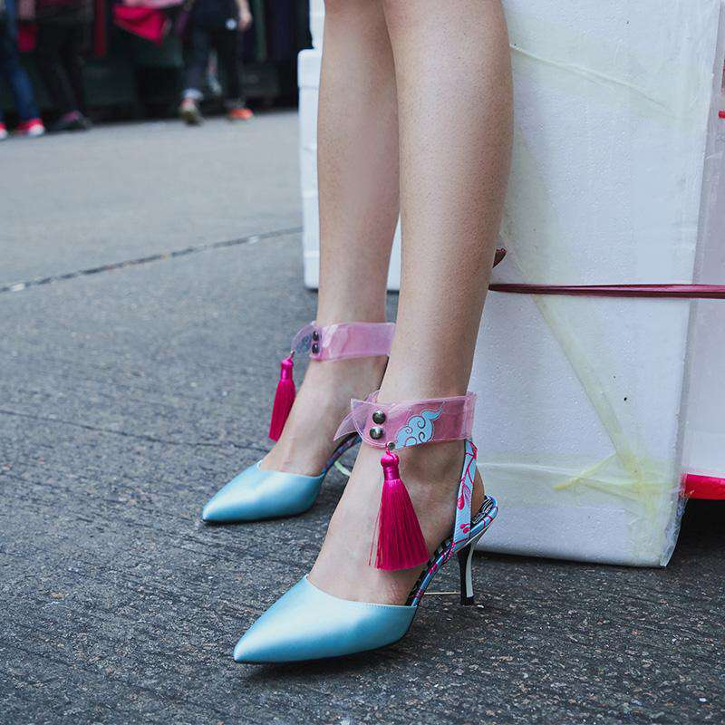 Ladies Detachable Collar Heel Pumps 5245 Green - House of Avenues - Designer Shoes | 香港 | 女鞋 House of Avenues