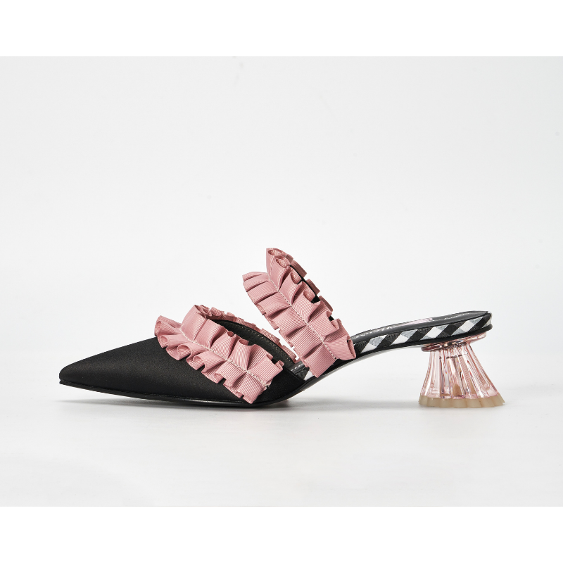 Ladies Ruffle Mule Sandal 5234 Black - House of Avenues - Designer Shoes Online 香港女鞋網店