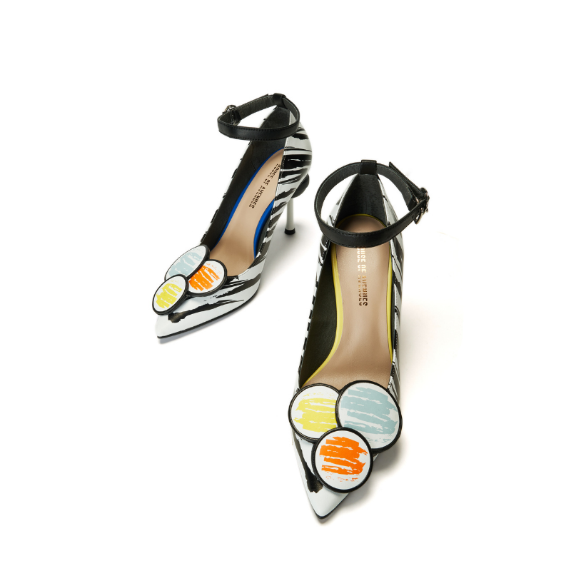 Keep Art Alive Ladies Color Blocking Grafitti Stiletto Heel Pumps 5525 White - House of Avenues - Designer Shoes Online