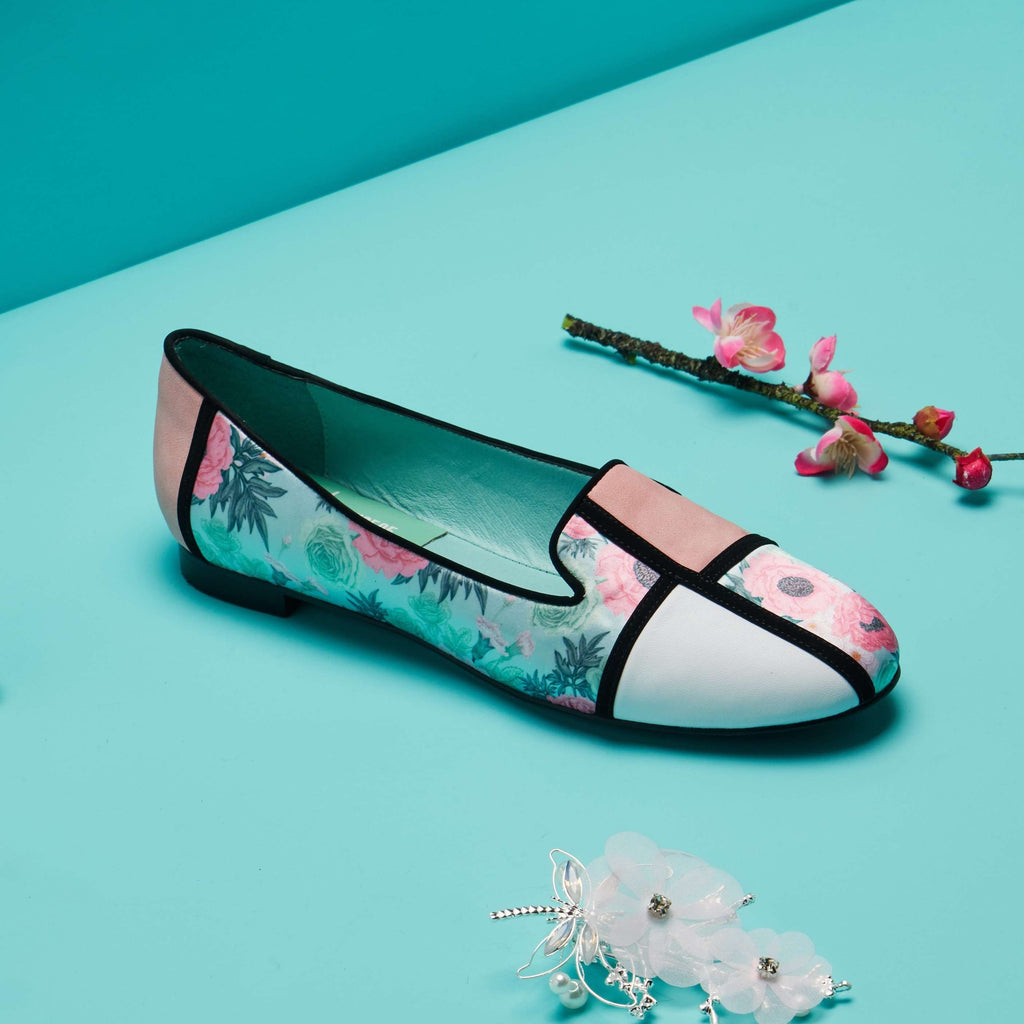 Palace x House Of Avenues Ladies Floral Print Loafer Pumps 5381 Green - House of Avenues - Designer Shoes Online