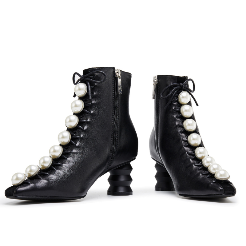 Pearl Lace Up Ankle Boot 5572 Black - House of Avenues - Designer Shoes | 香港 | 女鞋 House of Avenues