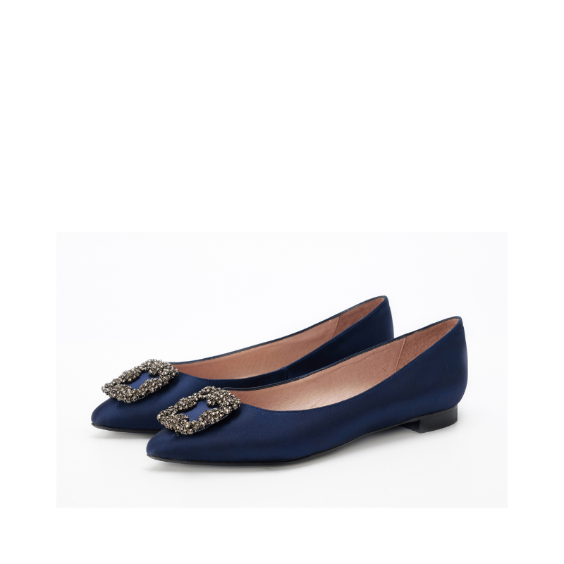 DB Ladies Ornament Satin Flat Pumps DB010067 Navy - House of Avenues - Designer Shoes | 香港 | 女鞋 House of Avenues