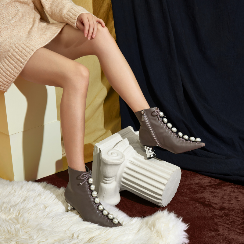 Pearl Lace Up Ankle Boot 5572 Taupe - House of Avenues - Designer Shoes | 香港 | 女鞋 House of Avenues